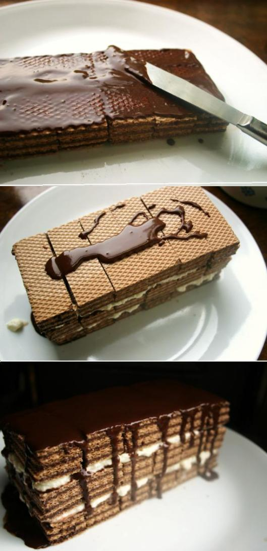 Frozen Homemade Kit-Kat Cake Recipe