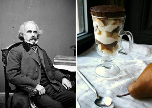 Nathaniel Hawthorne: Chocolate Pudding Cake with Roasted Pears