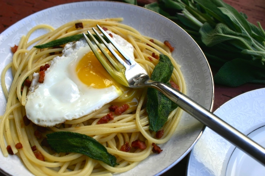 Spaghetti with Sage, Pancetta and Fried Egg Recip