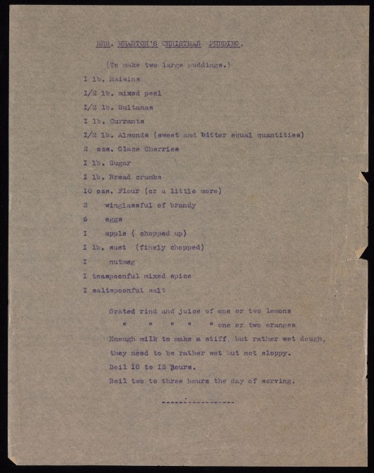 Edith Wharton's Christmas Pudding Recipe